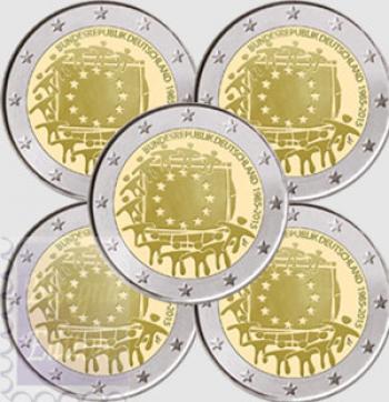 2 euro Germania x 5 Zecche 2015 - 30 Anni Bandiera Europea