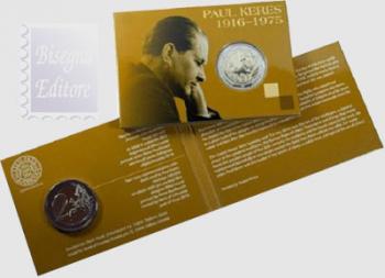 Coincard Ufficiale BU -  2 euro Estonia 2016 - 100.mo ann. Paul Keres