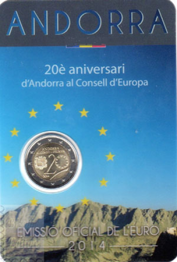 Coincard Ufficiale BU - 2 euro Andorra 2014 - Ingresso Consiglio d'Europa