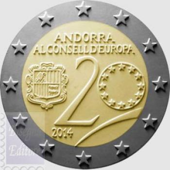 Confezione in capsula BU - 2 euro Andorra 2014 - Ingresso Consiglio Europa
