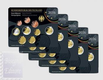 Divisionale Germania 2016 x 5 zecche A/D/F/G/J