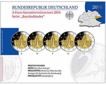 Coincard Ufficiale Fondo Specchio - 2 euro Germania 2016 x 5 zecche A/D/F/G/J - Kronentor di Dresda