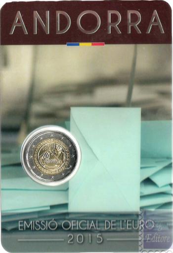 Coincard Ufficiale BU - 2 euro Andorra 2015 - 30mo Anniv. Maggiore Eta'