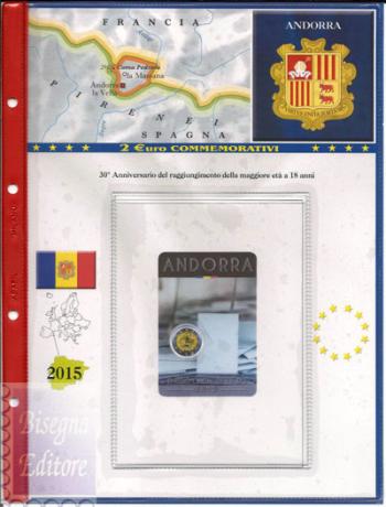 (A)Pagine raccoglitrici per 2 euro Coincard Andorra 2015 - Maggiore età