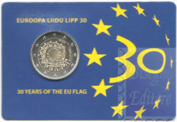Coincard Ufficiale BU -  2 euro Estonia 2015 - 30 anni Bandiera Europea