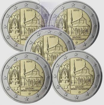 2 euro Germania 2013 x 5 zecche A/D/F/G/J - Monastero Maulbronn