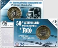 5 EURO BIMETALLICA ITALIA 2017 - 50°ANNIV.SCOMPARSA TOTO'