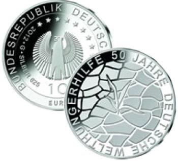 10 euro Germania 2012- 50° Ann. Fondo Tedesco Fame nel Mondo