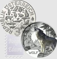 AUSTRIA 3 EURO 2017 - SERIE ANIMALI - LUPO