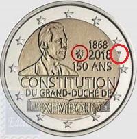 2 EURO LUSSEMBURGO 2018 - 150°ANNIV. COSTITUZIONE LUSSEMBURGHESE-