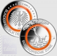 5 EURO GERMANIA 2018 - ZONA SUBTROPICALE - ANELLO POLIMERO ARANCIO