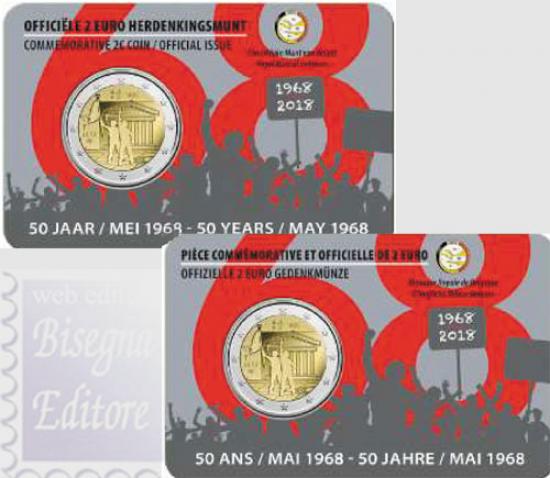2 EURO BELGIO COINCARD 2018 - 50° RIVOLTA STUDENTESCA '68