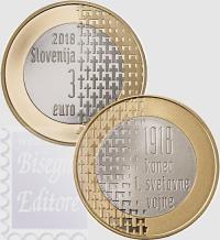 3 EURO BIMETALLICO SLOVENIA 2018 - 100 ANNI FINE PRIMA GUERRA MONDIALE