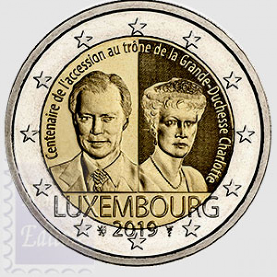 2 EURO LUSSEMBURGO 2019 - 100° ANNIVERSARIO DELL'ASCESA AL TRONO DELLA GRANDUCHESSA CHARLOTTE - DISTRIBUZIONE GIUGNO 2019