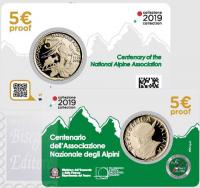 5 EURO ALPINI PROOF ITALIA 2019 - 100 ANNI FONDAZIONE ASSOCIAZIONE NAZIONALE ALPINI
