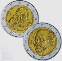 2 EURO GRECIA 2019 - 150° MORTE ANDREAS KALVOS E 100 ANNI NASCITA MANOLIS ANDRONOKOS