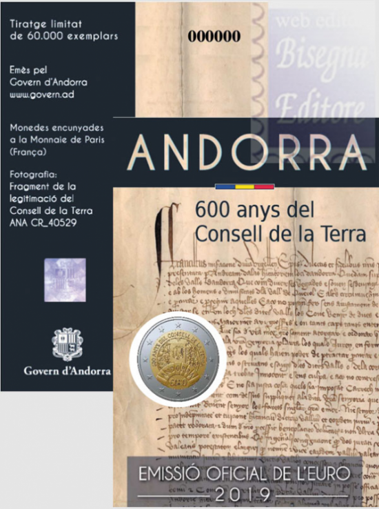 2 EURO ANDORRA 2019 - 600 ANNI DEL CONSIGLIO DELLA TERRA.