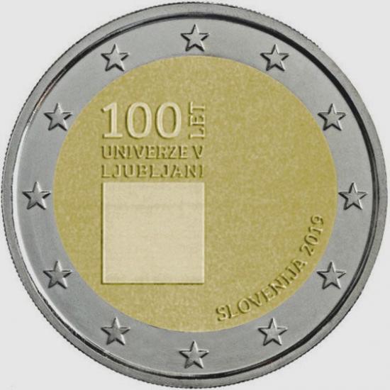 2 EURO SLOVENIA 2019 - CENTENARIO DELLA FONDAZIONE DELL'UNIVERSITA' DI LUBIANA