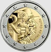 2 EURO FRANCIA 2020 - 50°ANN. MORTE GENERALE CHARLES DE GAULLE