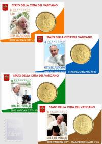 STAMP&COINCARD 32/33/34/35 VATICANO 2020 - PAPA FRANCESCO ENCICLICA LAUDATO SI