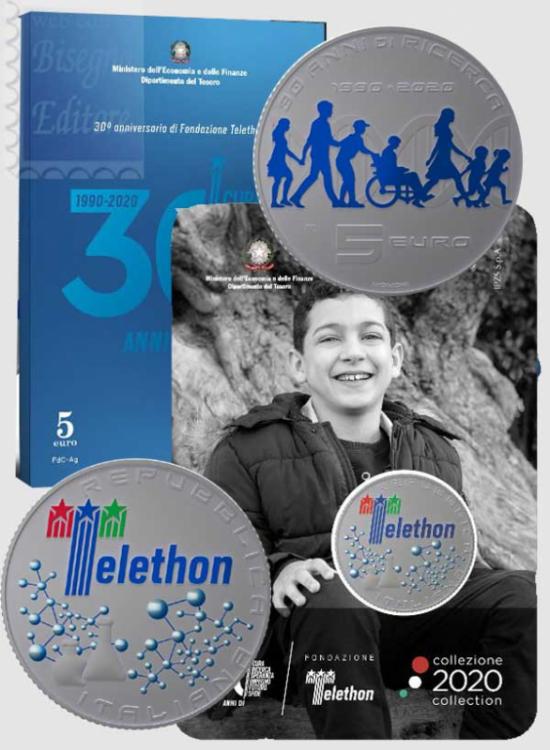 5 EURO ITALIA ARGENTO FDC 2020 -  30° ANN. FONDAZ. TELETHON