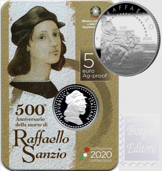 5 EURO ITALIA ARGENTO PROOF  2020 - 500°ANN. MORTE RAFFAELLO SANZIO