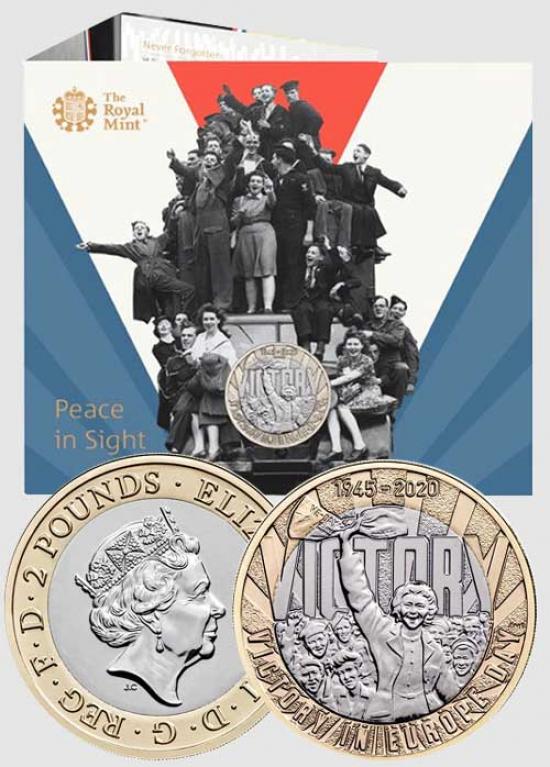 2 £ GRAN BRETAGNA 2020 - 75° ANN. VITTORIA NELLA SECONDA GUERRA MONDIALE