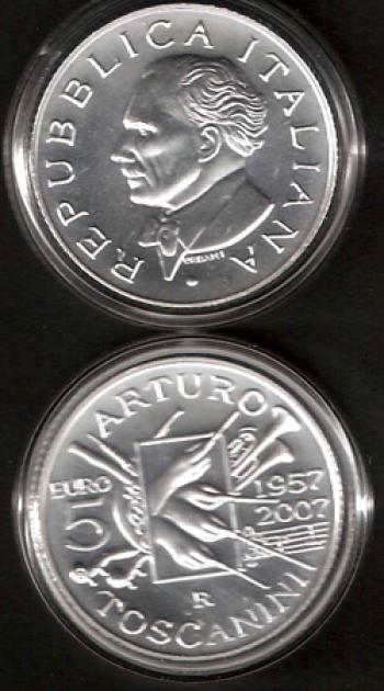 Cofanetto Ufficiale 5 euro Ag Italia 2007 - 50° Ann. morte Arturo Toscanini