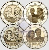 2 euro Lussemburgo 2021 - 100 ° compleanno Granduca Jean +40 ° anniversario di matrimonio Maria Teresa e Henri