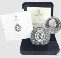 1 £ St. Helena  2021 in scatola ufficiale e certificato  - 1 Oncia Argento 999/1000  Proof (31,21 g) -  200 anni morte di Napoleone