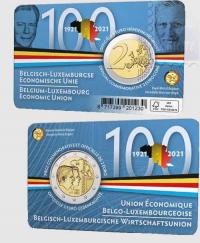 2 euro Belgio 2021 - 100° anniv. Unione economica Belgio e Lussemburgo