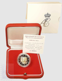 2 euro  Monaco 2021 - 10° anniv. Matrimonio principe Alberto con Charlène Wittstock