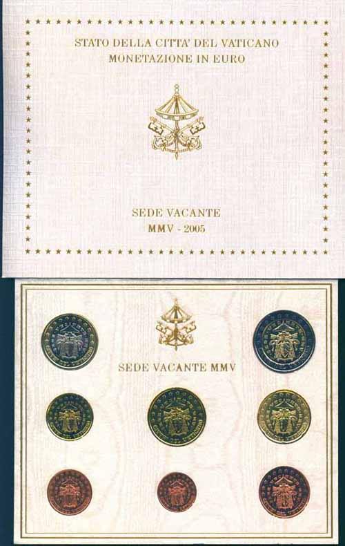 Monete Euro Divisionale Ufficiale Bu Vaticano 2005 Sede Vacante