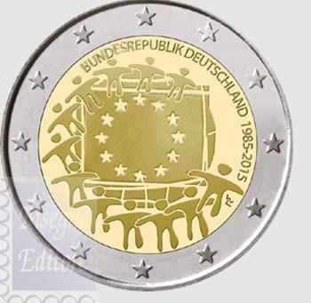 Monete Euro 2 Euro Germania 2015 30 Anni Bandiera Europea