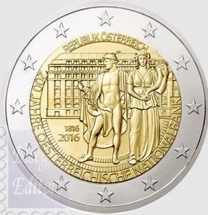 Monete Euro 2 Euro Austria 2016 200 Anni Banca Austriaca