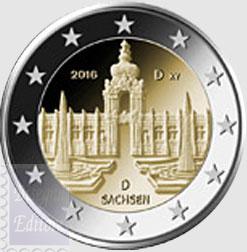 Monete Euro 2 Euro Germania 2016 Sachsen Lo Zwinger Di Dresda