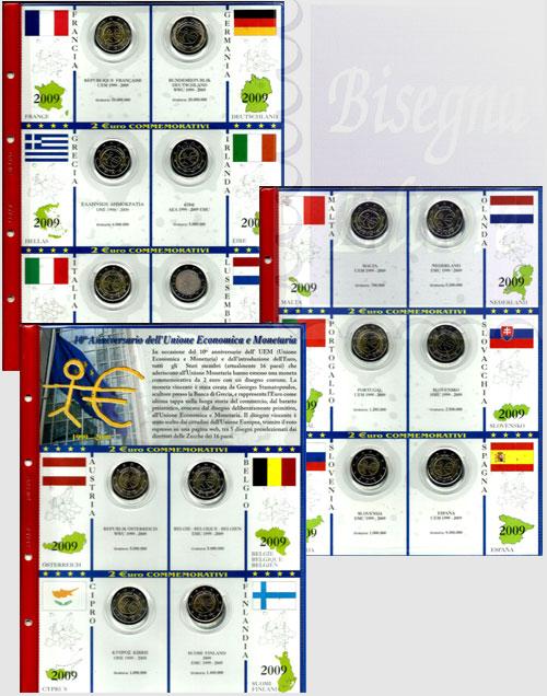 126d34d304 Collezione completa con pagine raccoglitrici - 2 euro commemorativi 2009  EMU (16 monete)