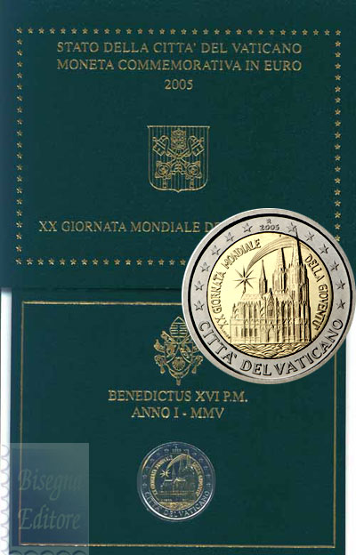 Monete Euro Perfetta Confezione Ufficiale 2 Euro Vaticano 2005