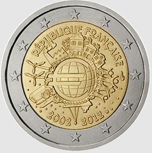 4632e135d9 Monete Euro - 2 euro Francia 2012- 10°Anniversario Euro