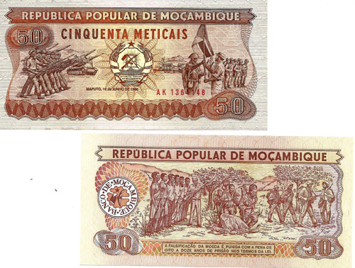 Banconote Mozambico 50 Meticais Soldiers 1986