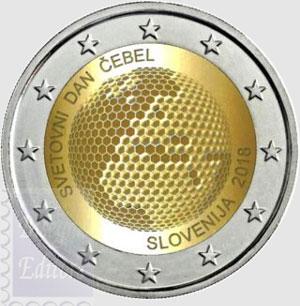 monete euro fior di conio unc 2 euro slovenia 2018. Black Bedroom Furniture Sets. Home Design Ideas