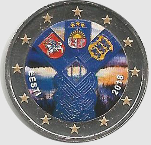 2 euro colorato Estonia 2018 in capsula - 100° Anniv. Stati Baltici