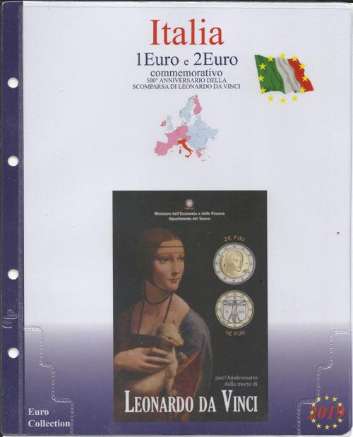 175dc159a1 (M) Pagine raccoglitrici 1+2 euro Italia 2019 - Leonardo da Vnci