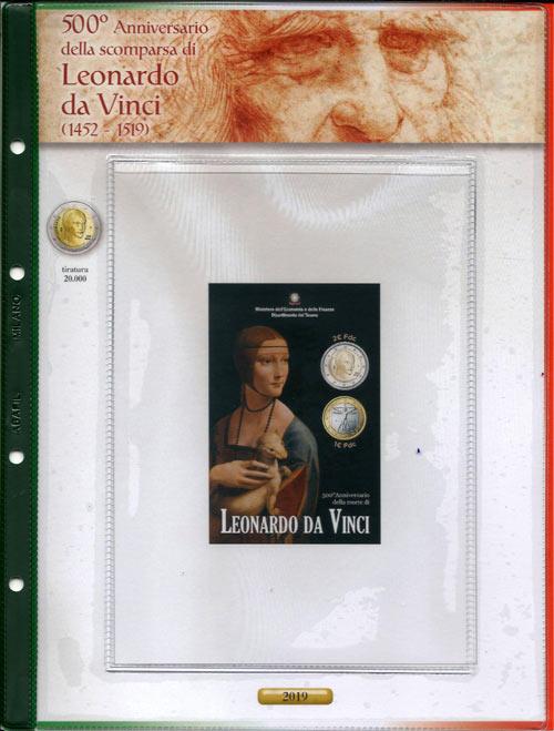 6b5c6405fe (A) Pagine raccoglitrici 2 euro Folder Italia 2019 - Leonardo da Vinci