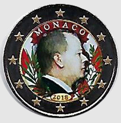 2 euro colorato Monaco 2018 in capsula - Re Alberto II