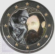 2 euro colorato Francia 2017 in capsula - Morte August Rodin