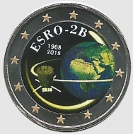 2 euro colorato Belgio 2018 in capsula - Satellite ESBRO-2B
