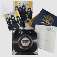 1 Sterlina  2020 in scatola ufficiale e certificato Royal Mint - 1/2 Oncia Argento 999 Proof (15,71 g) -  MUSIC LEGENDS - THE QUEEN