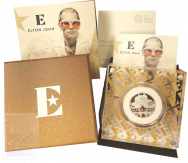 1 Sterlina  2020 in scatola ufficiale e certificato Royal Mint - 1/2 Oncia Argento 999 Proof (15,71 g) -  MUSIC LEGENDS - ELTON JOHN